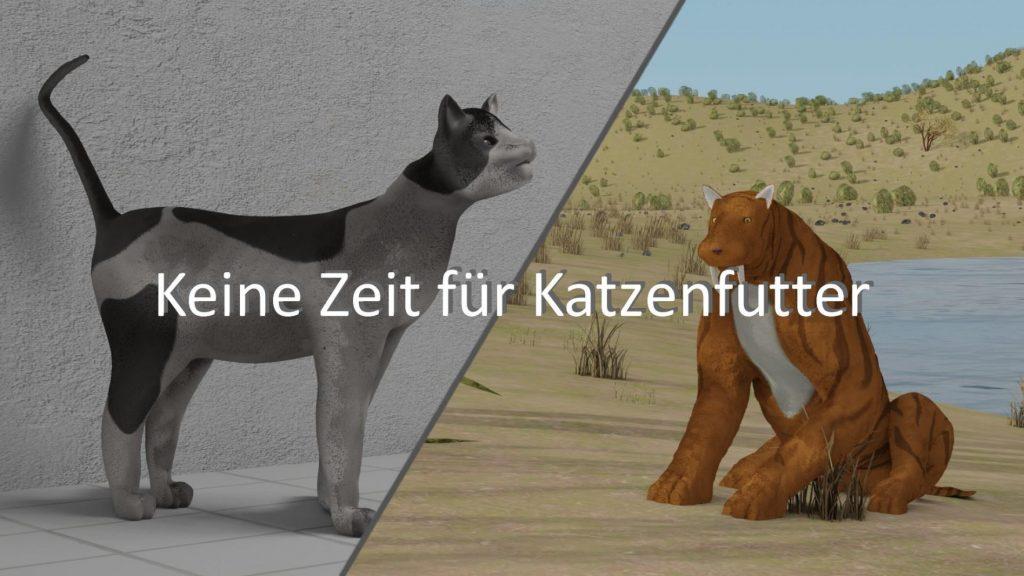 Der Titel des Films. Auf der linken Seite ist eine moderne Katze, auf der rechten eine prähistorische