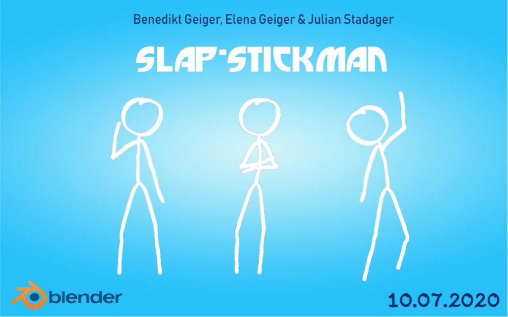 Das Logo des Films Slap-Stickman. Es sind drei Strichmenschen zu sehen